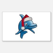 Christmas Dolphin Rectangle Sticker 50 pk)