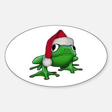 Christmas Frog Oval Decal