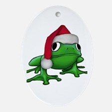 Christmas Frog Oval Ornament
