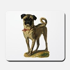 Pug with red collar Mousepad