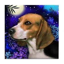 BEAGLE DOG MOON GARDEN Tile Coaster