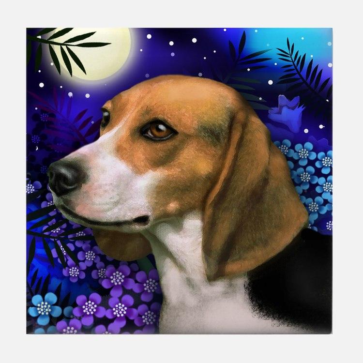BEAGLE DOG MOON GARDEN Tile Coaster