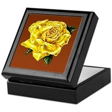 Yellow Rose Brown bkg Keepsake Box