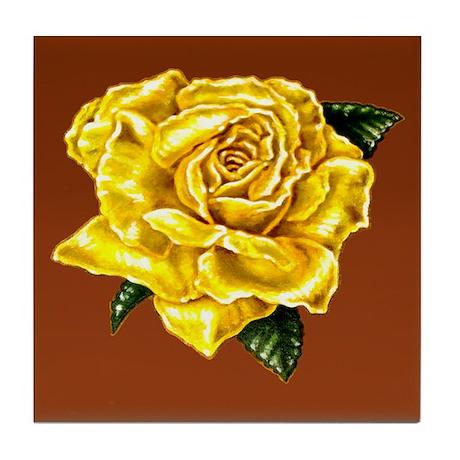 Yellow Rose Brown bkg Tile Coaster
