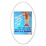 Comic Pants Down Humor Oval Sticker