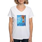 Comic Pants Down Humor Women's V-Neck T-Shirt