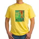 Comic Pants Down Humor (Front) Yellow T-Shirt