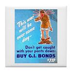 Comic Pants Down Humor Tile Coaster