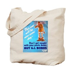 Comic Pants Down Humor Tote Bag