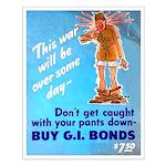Comic Pants Down Humor Small Poster