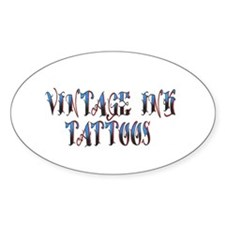 Classic Vintage Ink Name Plat Oval Decal