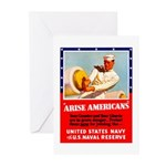 Navy Arise Americans Greeting Cards (Pk of 10)