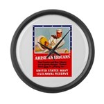 Navy Arise Americans Large Wall Clock