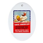 Navy Arise Americans Oval Ornament