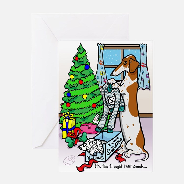 Red Piebald Dachshund Christmas Card