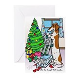 Piebald dachshund christmas Greeting Cards (10 Pack)