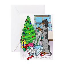 Dapple Weiner Dog Sweater Christmas Card