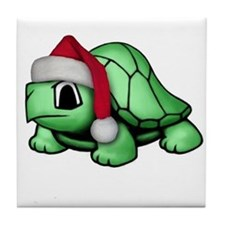 Christmas Turtle Tile Coaster