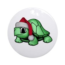 Christmas Turtle Ornament (Round)