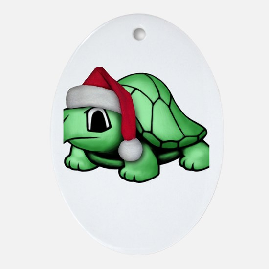 Christmas Turtle Oval Ornament
