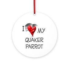 I Love My Quaker Parrot Christmas Ornament