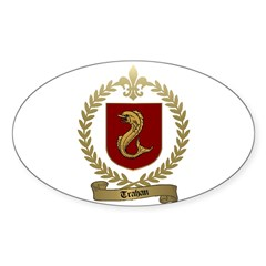 TRAHAN Family Crest Oval Decal