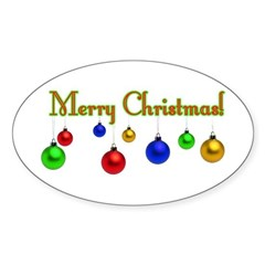 Ornament Merry Christmas Oval Decal