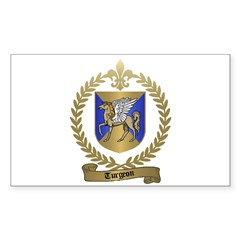 TURGEON Family Crest Rectangle Decal