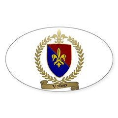 VEILLEUX Family Crest Oval Decal