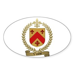 VINCENT Family Crest Oval Decal