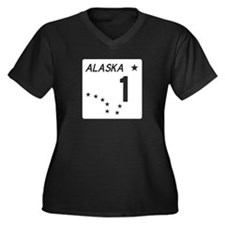 Route 1, Alaska Women's Plus Size V-Neck Dark T-Sh