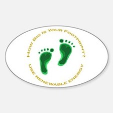 Carbon Footprint Renewable En Oval Decal
