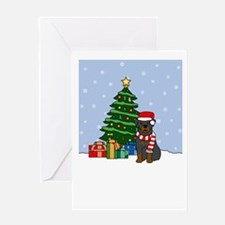 Rottweiler Howling Holiday Greeting Card