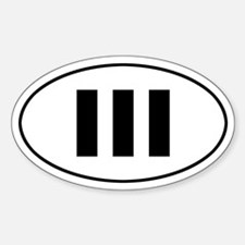 III b/w oval sticker