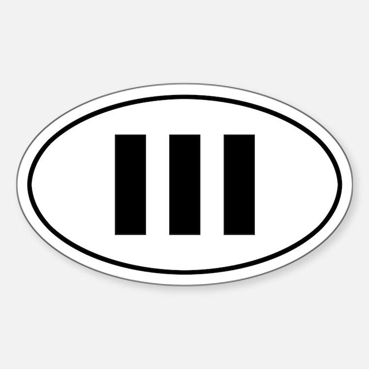 III b/w oval sticker