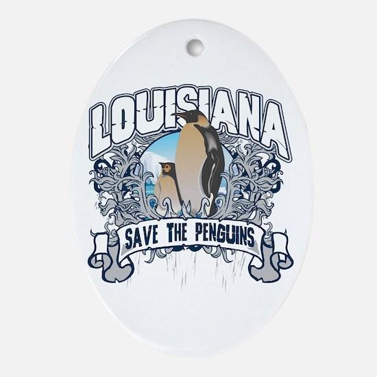 Save the Penguins Louisiana Oval Ornament