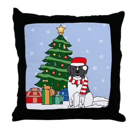 Landseer Christmas Throw Pillow