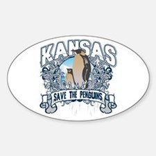 Save the Penguins Kansas Oval Decal