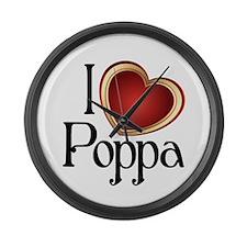 I heart Poppa Large Wall Clock