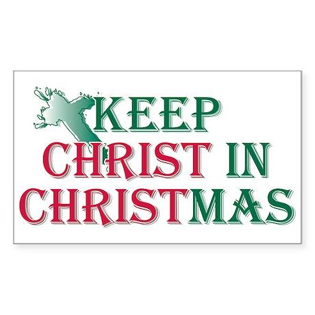 Keep Christ Cross Rectangle Sticker 50 pk)