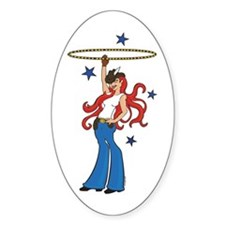 Cowgirl Hoopin Oval Decal
