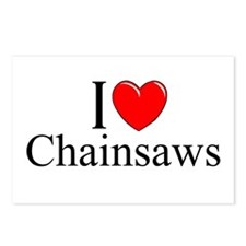"""I Love (Heart) Chainsaws"" Postcards (Package of 8"