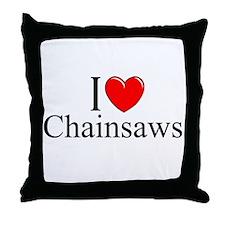 """I Love (Heart) Chainsaws"" Throw Pillow"