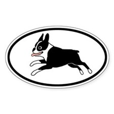 Running Boston Terrier Oval Decal