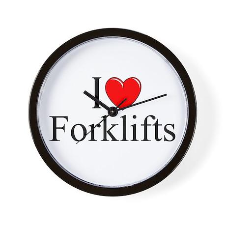 """I Love (Heart) Forklifts"" Wall Clock"