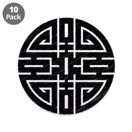 """Chinese Longevity 3.5"""" Button (10 pack)"""