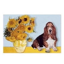 Sunflowers & Basset Postcards (Package of 8)