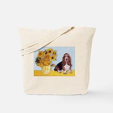 Sunflowers & Basset Tote Bag