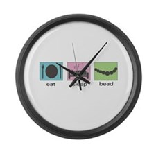 Eat. Sleep. Bead. Large Wall Clock