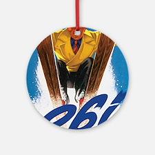 Ski Skiing Keepsake (Round)